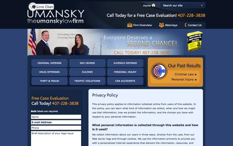 Screenshot of Privacy Page thelawman.net - Privacy Policy | The Umansky Law Firm | Orlando - captured Oct. 6, 2014