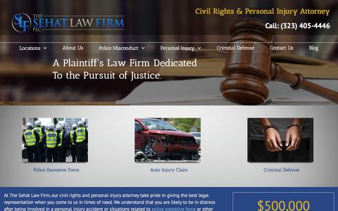 Screenshot of Home Page sehatlaw.com - Police Misconduct & Personal Injury Attorney Lawyer Los Angeles - captured March 31, 2016