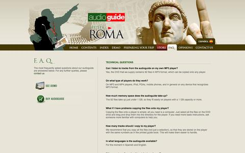 Screenshot of FAQ Page audioguiderome.com - Guide to Rome | Tutta Roma Audioguide | FAQs on the Tutta Roma audio-guide - captured March 15, 2016