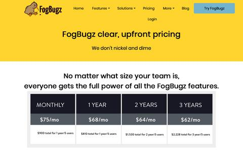 Screenshot of Pricing Page fogbugz.com - FogBugz Pricing - captured Dec. 6, 2018