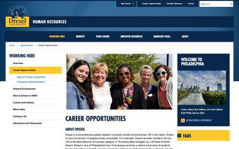 Screenshot of Jobs Page drexel.edu - Career Opportunities | Human Resources | Drexel University - captured Sept. 20, 2018