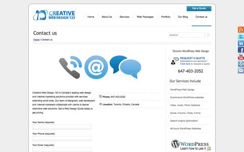 Contact us | Creative Web Design 123 | WordPress Web Design | Toronto