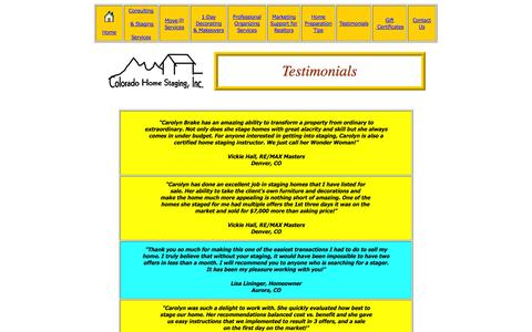 Screenshot of Testimonials Page cohomestaging.com - Testimonials - captured Oct. 2, 2014