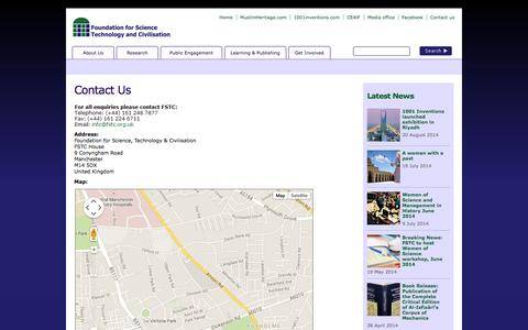 Screenshot of Contact Page fstc.org.uk - Contact Us - FSTC - Foundation for Science, Technology and Civilization - captured Sept. 30, 2014