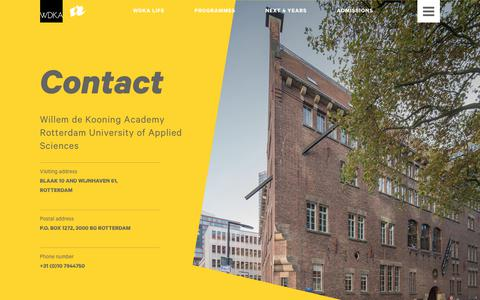 Screenshot of Contact Page wdka.nl - Contact - WdKA - captured Oct. 7, 2017