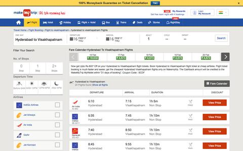 16 Flights Hyderabad to Visakhapatnam Fares @Rs.1440+Cashback | MakeMyTrip®