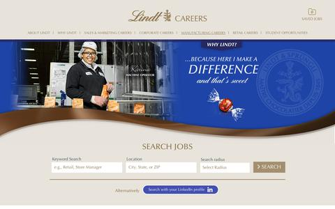 Screenshot of Jobs Page lindtusa.com - R&D / Manufacturing Careers in LINDT & SPRUNGLI USA - captured Sept. 27, 2018