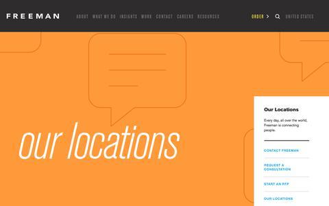 Screenshot of Locations Page freeman.com - Locations Landing | Freeman - captured July 8, 2018