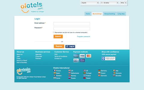 Screenshot of Login Page olotels.com - companyname-manage-your-bookings - captured Sept. 19, 2014