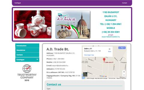 Screenshot of Contact Page adtradebt.hu - Exporter of Hungarian products, European Branch Office of Mexican products, Export representative of - captured July 20, 2016