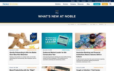 Screenshot of Blog noblesys.com - Blog | Noble Systems - captured Dec. 11, 2018