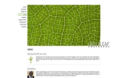 Screenshot of Press Page greenleafengineers.com - News | Green Leaf Engineers - captured Sept. 30, 2014