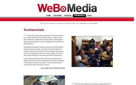Screenshot of Testimonials Page webo-media.com - WeBo Media - Testimonials - We Deliver the Video You Want - captured Oct. 7, 2014