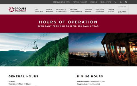 Screenshot of Hours Page grousemountain.com - Hours  | Grouse Mountain - The Peak of Vancouver - captured May 25, 2017