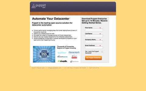 Screenshot of Landing Page puppetlabs.com - Puppet Labs: Automate Your Datacenter - captured Oct. 27, 2014