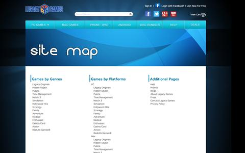 Screenshot of Site Map Page legacygames.com - Site Map / Legacy Games - captured July 13, 2016