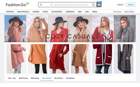 Screenshot of Home Page fashiongo.net - FashionGo -  Wholesale Clothing, Apparel, Handbags, Accessories, Shoes, Tops, Jeans - captured Nov. 7, 2018