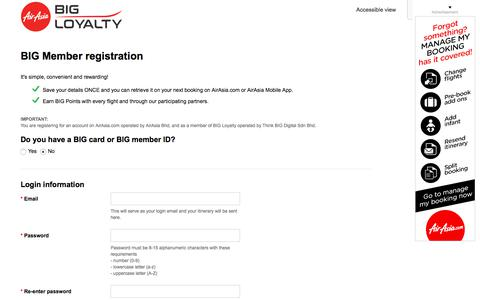 Screenshot of Signup Page airasia.com - AirAsia | Membership - captured July 29, 2018