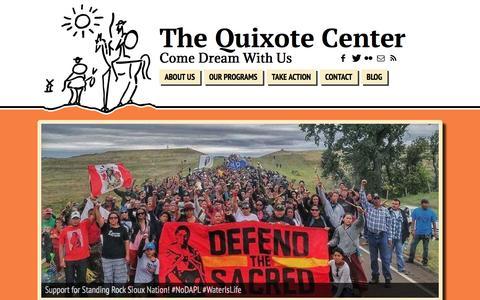 Screenshot of Home Page quixote.org - The Quixote Center   Come Dream With Us - captured Sept. 22, 2017