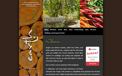 Screenshot of Home Page earthathiddenpond.com - Earth at Hidden Pond - Organic Inspired Al Fresco - captured Sept. 21, 2015