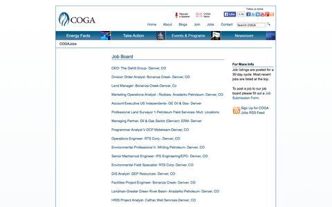 Screenshot of Jobs Page coga.org - Colorado Oil & Gas Association - captured Oct. 2, 2014