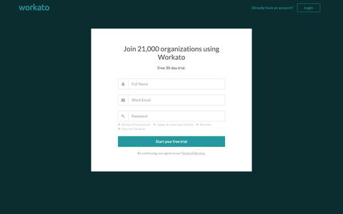 Screenshot of Signup Page workato.com - Get started with the leading integration platform | Workato - captured March 28, 2019
