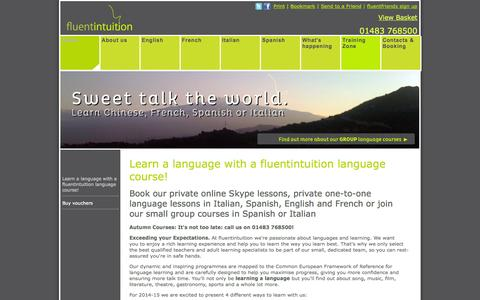 Screenshot of Home Page fluentintuition.co.uk - Language courses in Woking, Surrey, online lessons via Skype and private language lessons by fluentintuition languages - Home - captured Oct. 6, 2014
