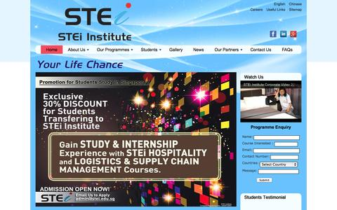 Screenshot of Home Page Site Map Page stei.edu.sg - Diploma Courses Study in Singapore   Hospitality Management Singapore   STEi - captured Oct. 3, 2014