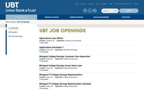 Screenshot of Jobs Page ubt.com - UBT Job Openings | Union Bank & Trust - captured Sept. 22, 2018