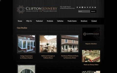 Screenshot of Case Studies Page cliftonjoinery.com - Past and present projects from the Clifton Joinery range - Clifton Joinery - captured Sept. 30, 2014