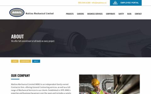 Screenshot of About Page mattina.ca - About Our Company | Mattina Mechanical Limited - captured Oct. 17, 2018