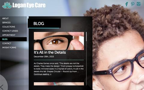 Screenshot of Blog loganeyecare.com - Blog - - captured Feb. 20, 2016