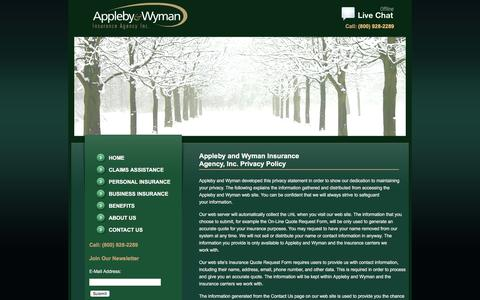 Screenshot of Privacy Page applebywyman.com - Appleby and Wyman Insurance Agency, Inc. Privacy Policy | Appleby & Wyman Insurance Agency Inc. - captured Feb. 6, 2016