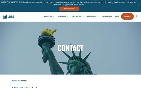 Screenshot of Contact Page lirs.org - Contact | LIRS - captured Sept. 25, 2018