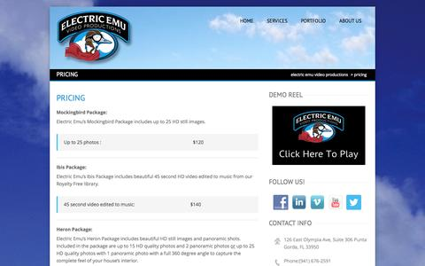 Screenshot of Pricing Page electricemuvp.com - Electric Emu offers affordable Real Estate Services - captured Oct. 2, 2014