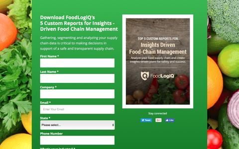 Screenshot of Landing Page foodlogiq.com - Top 5 Custom Reports for Insights-Driven Food Chain Management - captured May 15, 2017