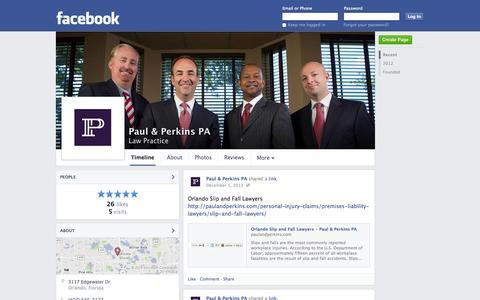 Screenshot of Facebook Page facebook.com - Paul & Perkins PA - Orlando, FL - Law Practice   Facebook - captured Oct. 22, 2014