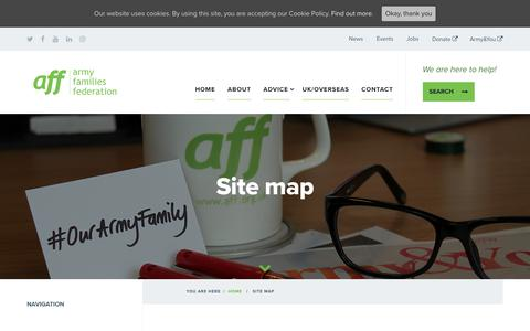 Screenshot of Site Map Page aff.org.uk - Site map - Army Families Federation - captured Oct. 4, 2018