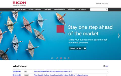 Screenshot of Home Page ricoh.com - Ricoh Global - captured Oct. 7, 2015