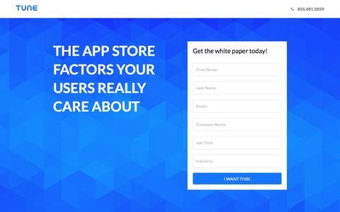 Screenshot of Landing Page tune.com - The App Store Factors Your Users Really Care About - captured May 4, 2017
