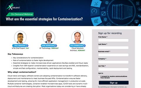 Screenshot of Signup Page xoriant.com - What are the essential strategies for Containerization? - captured Nov. 7, 2019
