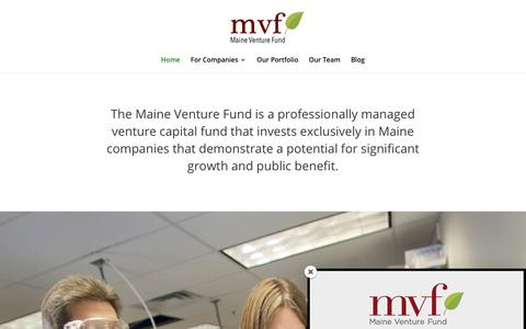 Screenshot of Home Page maineventurefund.com - Maine Venture Fund | Investing for Maine's prosperity and public benefit. - captured July 27, 2018