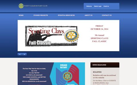 Screenshot of Menu Page pointclearrotary.org - Point Clear Rotary Club - captured Sept. 30, 2014