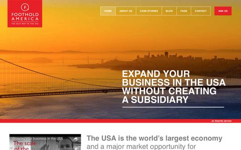 Screenshot of Home Page footholdamerica.com - Employing a worker in the USA | Effective US Presence : Foothold America - captured Aug. 4, 2016