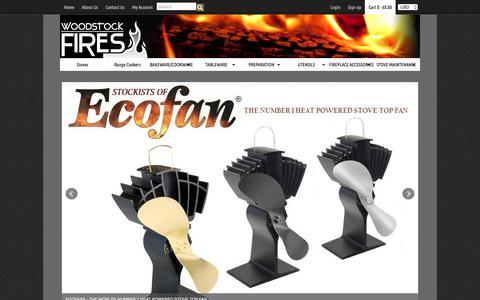 Screenshot of Home Page woodstockfires.co.uk - Woodstock Fires — Stoves & Range Cookers | Quality Cookware & Fireplace Accessories - captured May 10, 2017