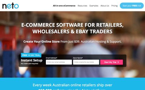 Screenshot of Trial Page neto.com.au - E-commerce Software Trial - captured Oct. 26, 2014