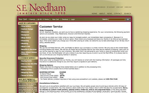 Screenshot of Support Page seneedham.com - Customer Service - captured Oct. 3, 2014