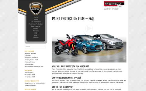 Screenshot of FAQ Page autoshield-protection.co.uk - Autoshield protection  | Paint protection film – FAQ - captured Oct. 4, 2014