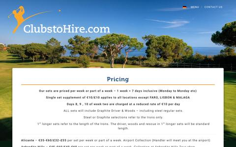 Screenshot of Pricing Page clubstohire.com - Pricing - Clubs to Hire - captured May 18, 2017