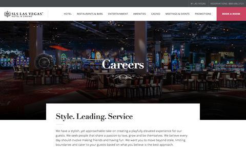 Screenshot of Jobs Page slslasvegas.com - Careers - SLS Las Vegas - captured July 18, 2018